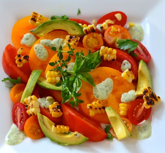 California Tomato Salad with Buttermilk Herb Dressing