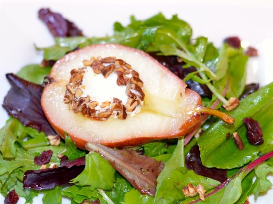 Pear Salad with Toasted Pecans Goat Cheese Rounds and Balsamic Honey Dressing