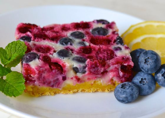 Summer Berry Custard Squares