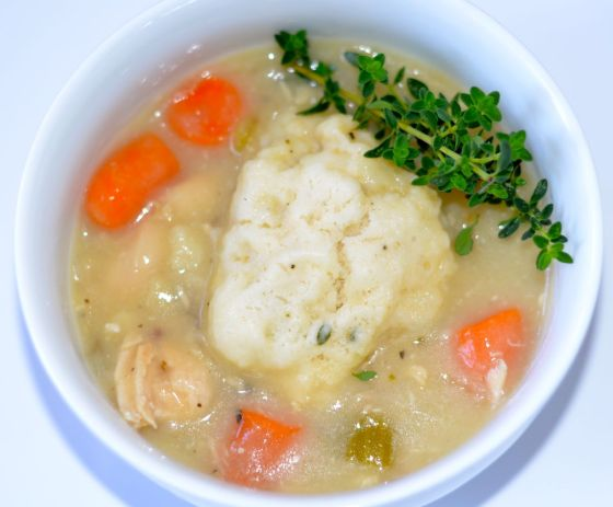 Chicken Soup with Fluffy Thyme Dunplings
