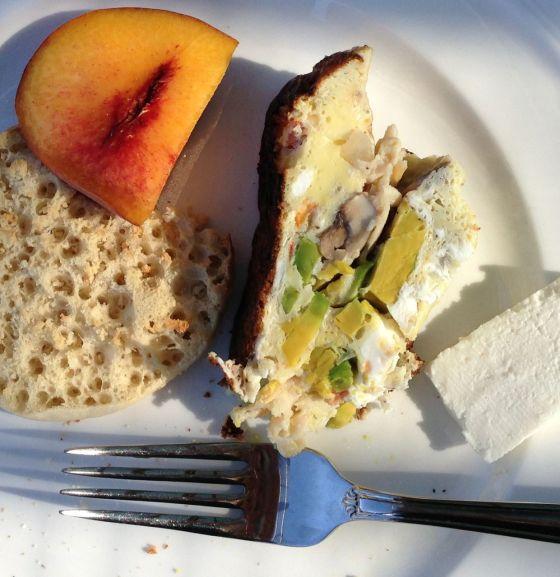 Turkey, Mushroom and Avacado Frittata with Queso Fresco