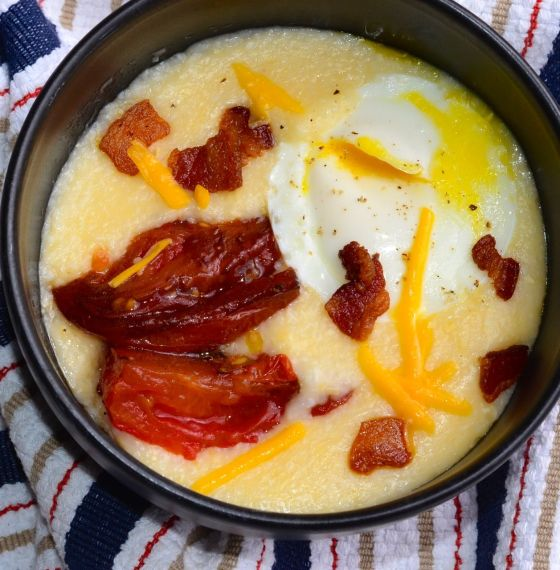Cheese Grits with Bacon, Eggs and Roasted Tomatoes