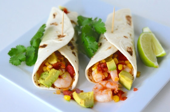 Shrimp Soft Tacos with Corn, Rotel, Avocado Salsa
