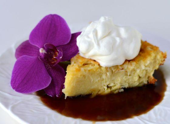 Coconut custard pie with jamaican rum sauce