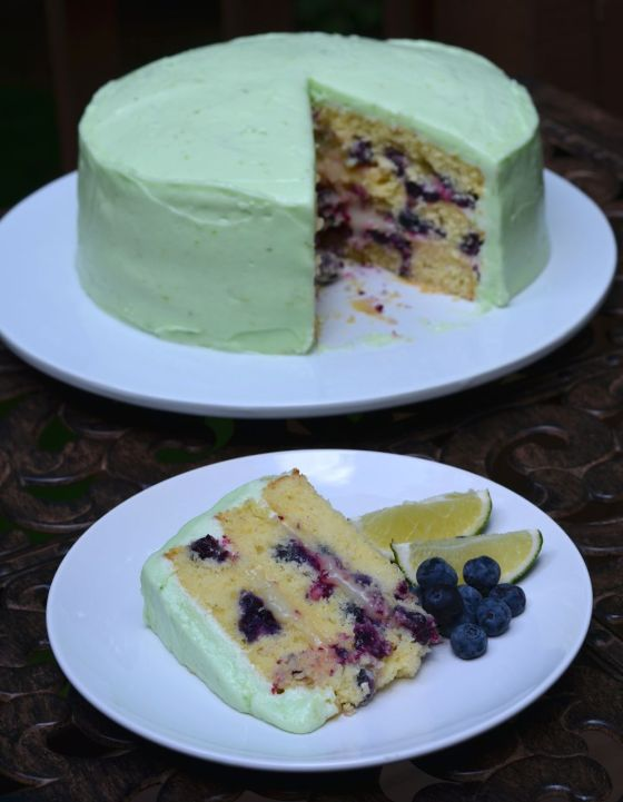 blueberry layer cake with lime curd icing
