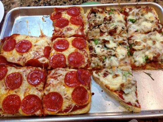 Focaccia deep dish pizza