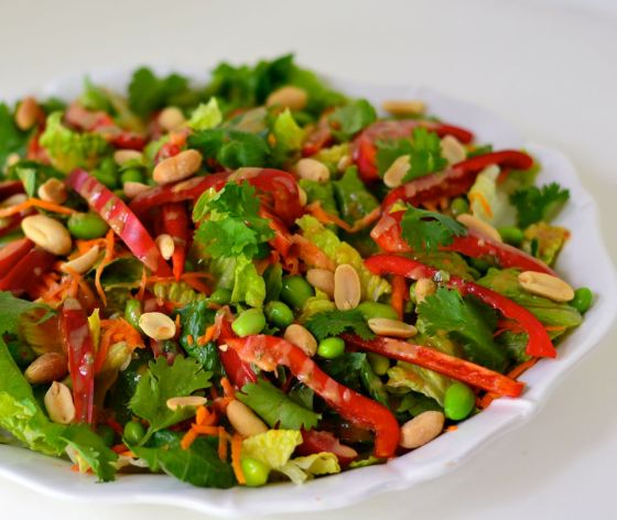 Thai Salad with Creamy Peanut Dressing