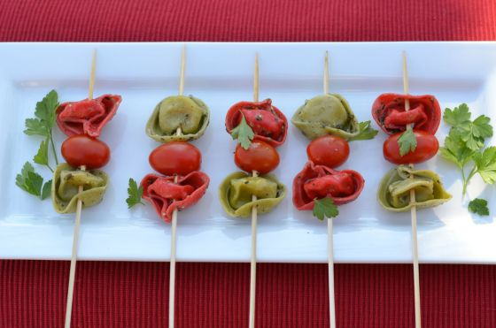 Tortellini Skewers with Pesto Vinaigrette