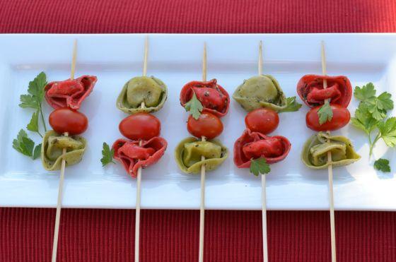 Tortellini Skewers with Pesto Vinaigrette