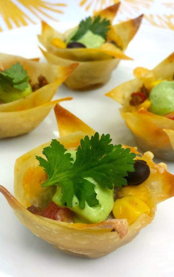 Southwestern Fiesta Cups with Creamy Avocado Sauce